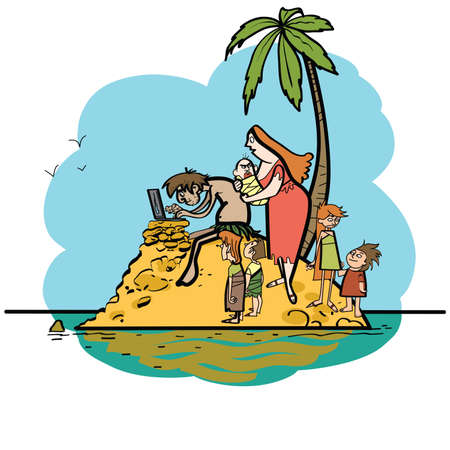 The programmer is on vacation desert island and family line art caricature. Husband wife and children. Robinson on the island. New technologies computer Internet. Travel tourism