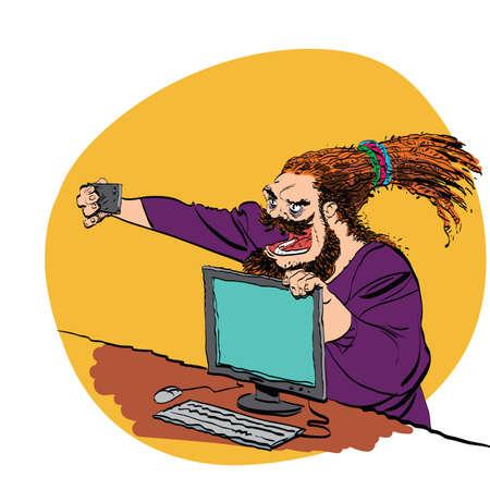 brutal: Brutal bearded man selfie line art caricature. Smartphone and computer