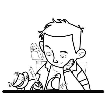 studious: Boy writes bird watching line art caricature. The student learns. Excellent studious boy. Writer poet Illustration