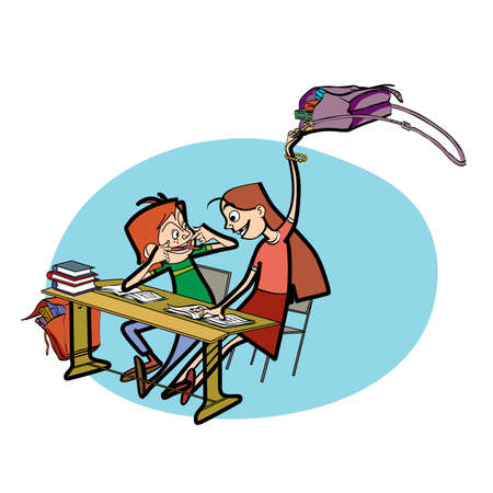 schoolboy: Boy and girl in school pranks line art caricature. Education. Desk in the classroom. Schoolboy and schoolgirl Illustration