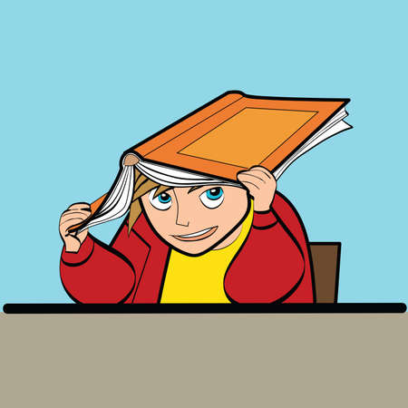 convivencia escolar: un escolar en un escritorio con la caricatura arte de línea de libros de texto. Estilo de vida. Vida escolar. Los niños en la escuela