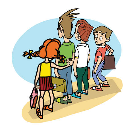 threat: Children at school threat school life line art caricature Illustration