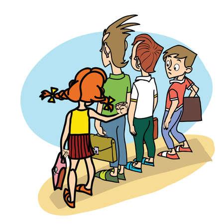 convivencia escolar: Los niños en la escuela amenaza la vida escolar caricatura línea arte
