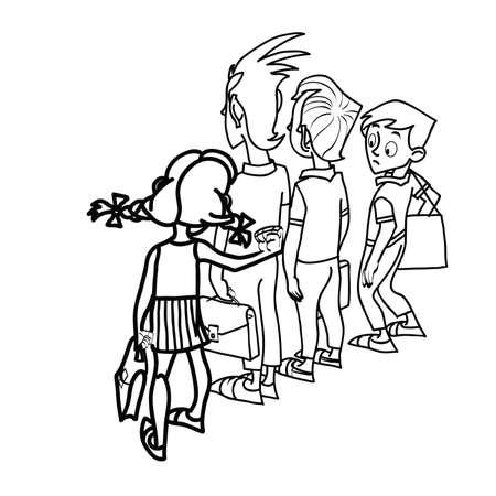 school life: Children at school threat school life line art caricature Illustration