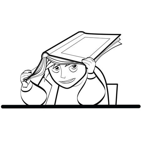 prankster: a schoolboy at a Desk with textbook line art caricature. Lifestyle. School life. The kids at school