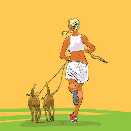 Sporty woman runner with dogs hands drawn vector illustration.