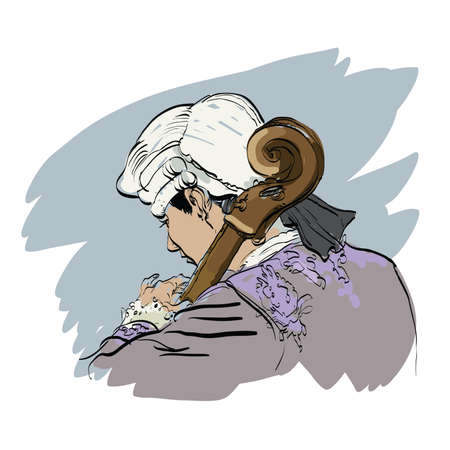 cellist: Musician cellist in a retro wig hands drawn vector illustration. Classical music. Musician of the Renaissance