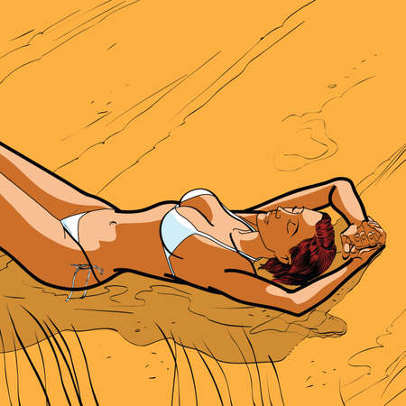 Sexy tanned girl in a bikini on the beach hands drawn vector illustration. The rest of the sea