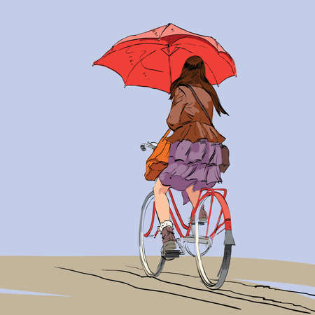 autumn woman: Girl on bike with umbrella autumn rain hands drawn vector illustration. Beautiful woman symbol of loneliness and sadness. A cyclist rides on the road
