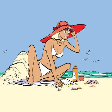 beachwear: Woman on the beach hands drawn vector illustration. The girl next to sand castle