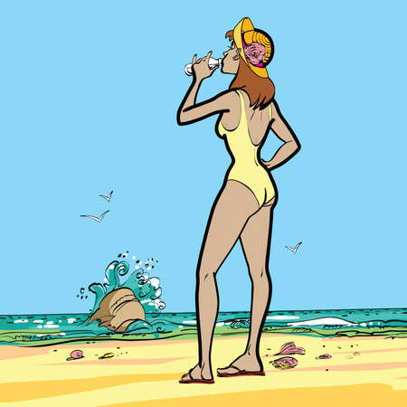sea, woman in swimsuit drinking water hands drawn vector illustration. Thirst and drinks
