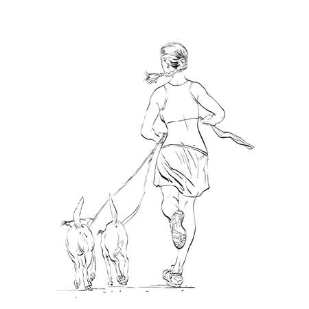 positive energy: Sporty woman runner with dogs hands drawn vector illustration.