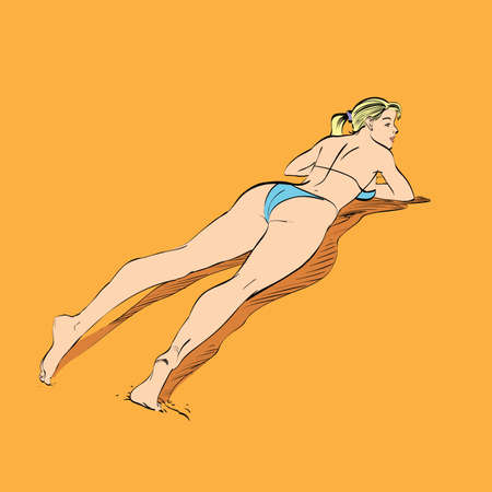 Beautiful girl sunbathes on a beach hands drawn vector illustration. The rest of the sea