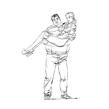 A fat rich guy with a young girlfriend on his hands hands drawn vector illustration. The unequal marriage