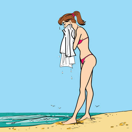nude outdoors: On the beach wet girl towel hands drawn vector illustration. The rest of the sea