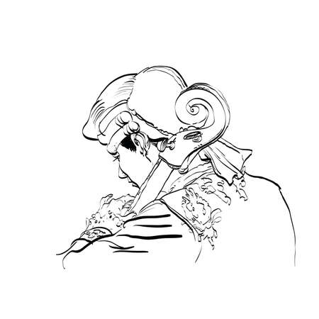 wig: Musician cellist in a retro wig hands drawn vector illustration. Classical music. Musician of the Renaissance