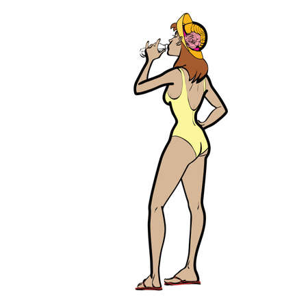 girl drinking water: Girl on beach drinking water hands drawn vector illustration. Beautiful woman in the globe. The summer heat