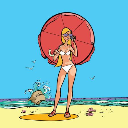 sun umbrella: Girl in swimsuit by the sea with a sun umbrella hands drawn vector illustration Illustration