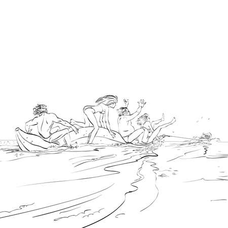 people having fun: happy people having fun on banana boat, hand drawing illustration comic. The rest of the sea. Water attraction