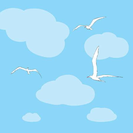 sky line: Sea gulls soar in the sky. line art vector illustration. Birds and animals