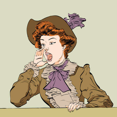 Retro lady screams, hand drawn illustration. Young woman calling for help