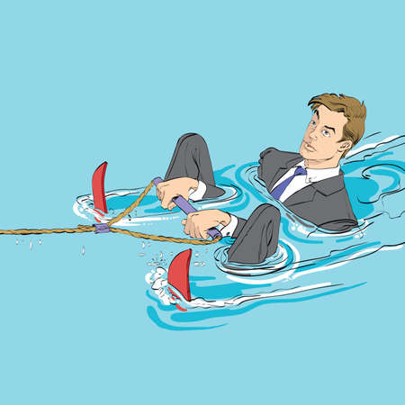 water skiing: Business startup concept. Businessman in water skiing, hand drawn line art illustration. A man is ready to start Illustration