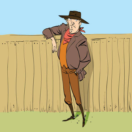 full figure: Cowboy in full figure standing near a fence, hand drawn line art illustration