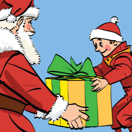 nick: Santa Claus gives the boy a box of gifts, comic book retro illustration. Christmas and New year