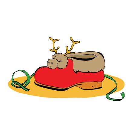 zapatos caricatura: pieles y ciervos zapatilla de deporte de Santa Claus, ilustración de color