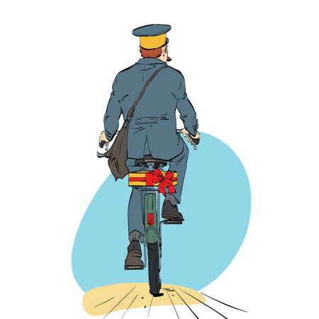 Retro postino in bicicletta cavalca con l'invio di regalo. Un impiegato professionale. Mail e recapito dei messaggi. Vacanze ed eventi Vettoriali