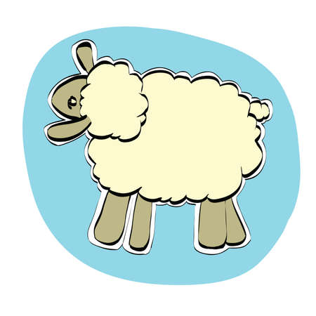Cute Christmas or Eid al Adha sheep, color illustration isolated