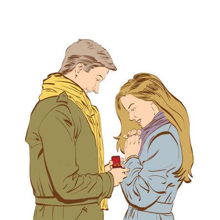 Novio que solicita la mano de su novia con un anillo de compromiso, color ilustración