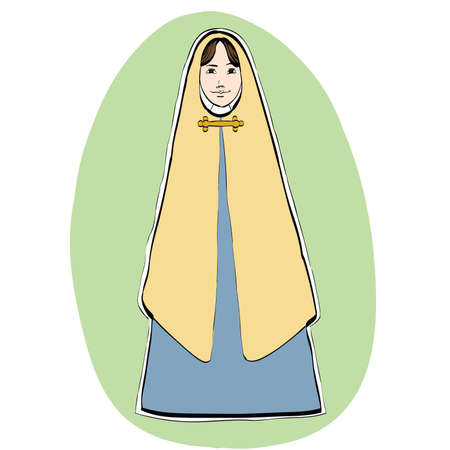 orthodoxy: Mary the mother of Jesus, Christian Christmas character, color illustration isolated . Nativity scene Illustration