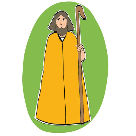 orthodoxy: Joseph father of Christ, Christian Christmas character, color illustration isolated . Nativity scene