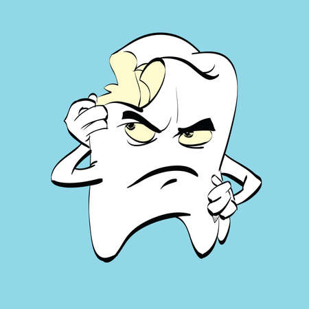 aching: The aching tooth with caries, a comic book character. Dental hygiene. Medicine and dentistry