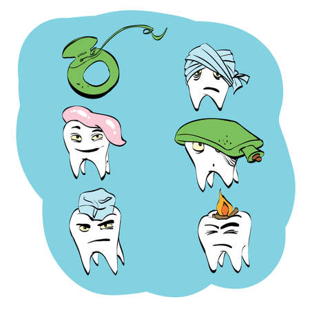 Dental set of tooth health and oral hygiene, color vector comic illustration. Pain and treatment. Toothpaste and dental floss. Caries and pulpitis Illustration