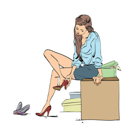 trying: Beautiful young woman trying shoes in the store, colored cartoon vector illustration
