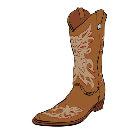 Leather cowboy boots, color  illustration isolated