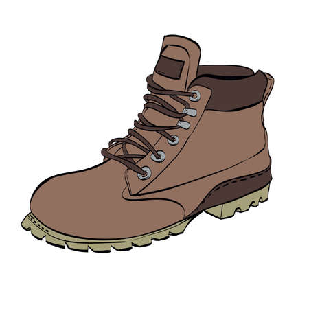 Boots for men Hiking on a white isolated