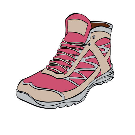 Red Hiking sneakers, shoes, color Illustration