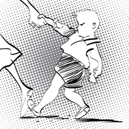 black baby boy: Angry baby boy, pop art retro vector illustration, imitation of raster halftone