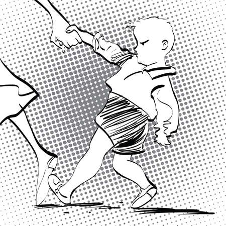 Angry baby boy, pop art retro vector illustration, imitation of raster halftone