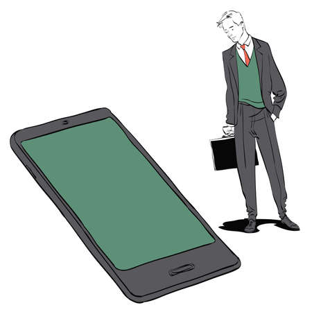 Businessman and smartphone. Technologies and communications. Phone and person Banco de Imagens