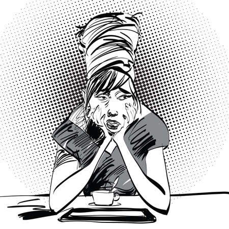 Sad girl with a Cup of coffee, pop art retro vector illustration, imitation of raster halftone