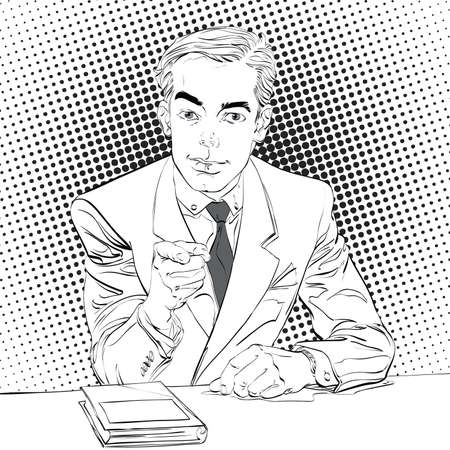 Pointing man, pop art halftone black and white background,  retro vector illustration, imitation of raster Banco de Imagens