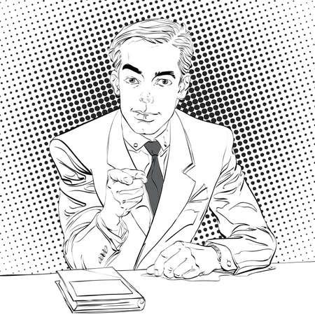 Pointing man, pop art halftone black and white background,  retro vector illustration, imitation of raster Stock Photo