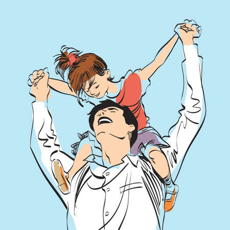 dad with little girl on his shoulders, pop art retro vector illustration