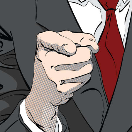 viewer: hand pointing finger at viewer, from front, pop art retro vector illustration, imitation of raster halftone Illustration