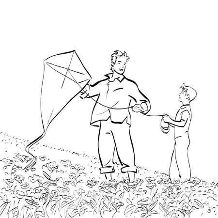 Dad and son flying a kite. Black and white vector illustration Banco de Imagens