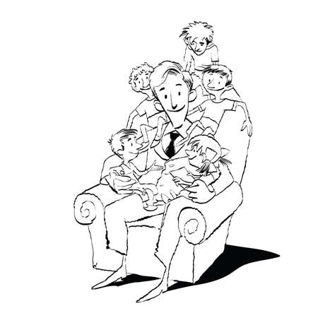 Large family, dad in a chair with children, hand drawn vector illustration. Many children. Black and white illustration